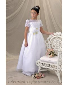 Short Sleeve Embroidered Organza First Communion Dress