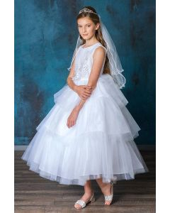First Communion Dress with 3d Flower Applique Bodice