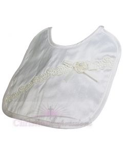 Girls Silk Dupioni Christening Bib with Flower