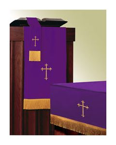 Reversible 3 Piece Parament Set Purple/Forest - Cross