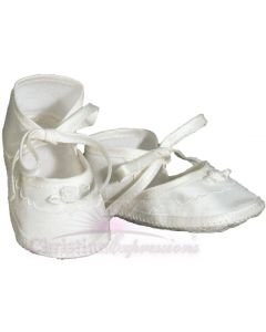 Girls Silk Dupioni Christening Shoe