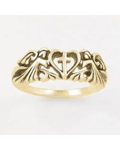 Heart cross 2 angels-14k Gold Ladies Christian Ring