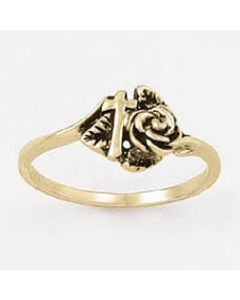 Rose and Cross-14k Gold Ladies Christian Ring