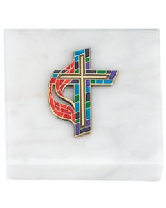 United Methodist Stained Glass Cross Paperweight