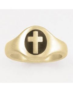 Oval cross black-14k Gold Ladies' Christian Ring