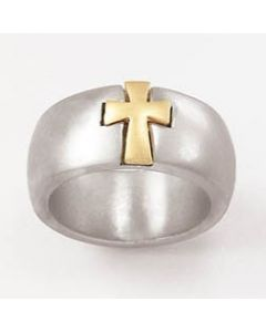 Two-tone cross-Sterling Silver Mens Christian Ring w/Gold Cross