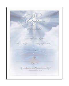 Baptism Certificate - Premium, Silver-Foil Embossed