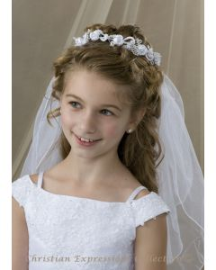 Wreath Style First Communion Veil with Pearls and Satin Rosebuds