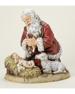 Kneeling Santa W/Lamb Figurine