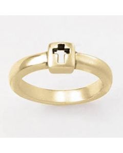 Square cut-out cross-14k Gold Ladies Christian Ring