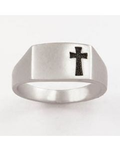 Shiny Pierced Cross Mens Christian Ring Sterling Silver