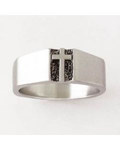 Traditional deacon cross Mens Christian Ring Sterling Silver
