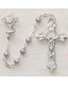 First Communion Rosary Purple Pearl w/Sterling Crucifix & Chalice or Miraculous