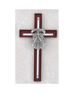 Gifts of The Spirit Confirmation Cross -  Silver/Cherry