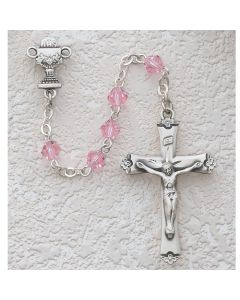 First Communion Rosary PINK TIN CUT w/Rhodium Chalice or Miraculous