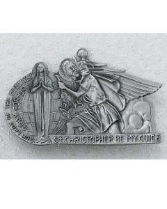 St. Christopher Visor Clip - Silver