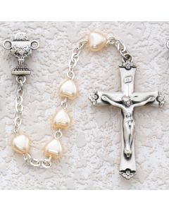 First Communion Rosary Pearl Heart w/Sterling Silver Chalice or Miraculous