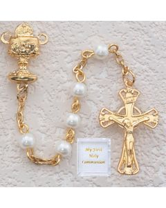 First Communion PEARL ROSARY - Gold Plated - VALUE PRICED