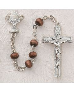 First Communion Rosary Brown Wood w/Sterling Chalice or Sacred Heart