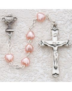 First Communion Rosary Pink Heart w/Sterling Chalice or Miraculous