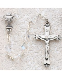 First Communion Rosary AB Crystal w/Sterling Chalice or Miraculous