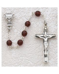 First Communion Rosary Garnet w/Sterling Chalice or Sac red Heart