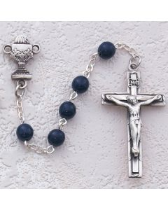 First Communion Rosary Blue Glass w/Rhodium Chalice or Sacred Heart
