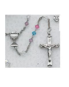 First Communion Rosary MULTI COLOR TIN CUT w/Rhodium Chalice or Miraculous