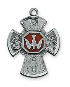 "4-WAY  Confirmation MEDAL w/ 18"" CHAIN Antique Silver"