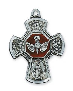"4-WAY  Confirmation MEDAL w/ 24"" CHAIN Antique Silver"