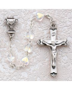 First Communion Rosary Crystal Heart w/Sterling Crucifix & Chalice or Miraculous