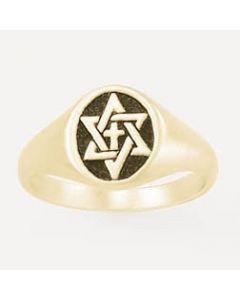 Signet Star of David Cross-14k Gold Men's Christian Ring