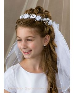 First Communion Veil with Satin Rosettes and Pearls