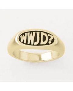 14k Gold Oval WWJD? Men's Christian Ring
