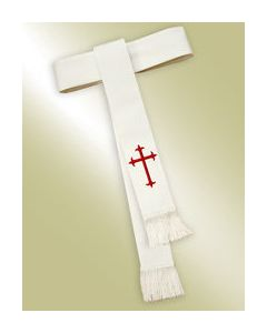 White Clergy Cincture with Red Latin Cross