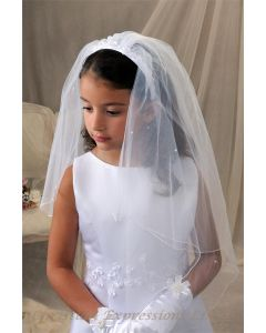 First Communion Headband Veil with Satin Flowers and Pearls