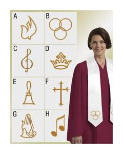 Embroidered Choir Stole - White