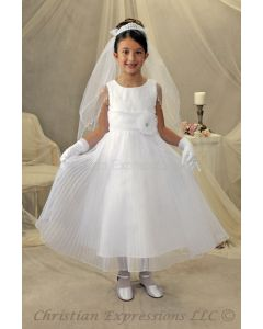 First Communion Dress with Peated Skirt and Embroidered Bodice