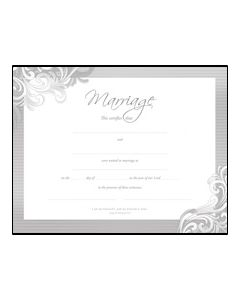 Marriage Certificate - Premium, Silver Foil Embossed