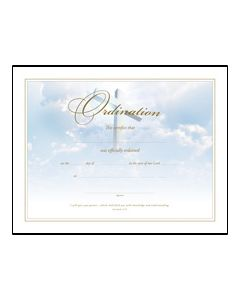 Ordination Certificate - Premium, Gold Foil Embossed