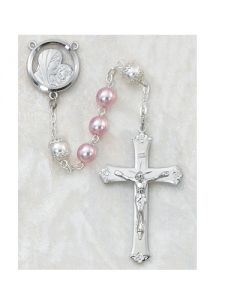 PINK PEARL ROSARY BEADS SS