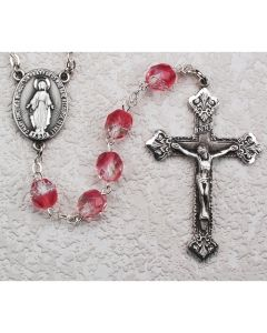 PINK GLASS ROSARY BEADS