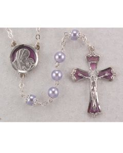 LAVENDER ROSARY BEADS WITH ENAMEL CRUCIFIX AND CENTER