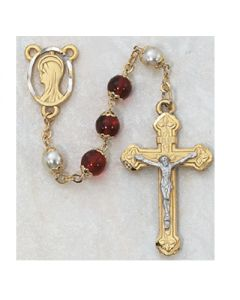 RED/PEARL CAPPED ROSARY BEADS
