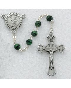 Irish Rosary Beads PEWTER GREEN/BLACK ST. PATRICK