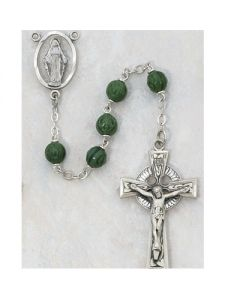 Irish Rosary Beads GLASS SHAMROCK SS