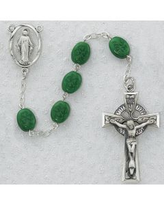 Irish Rosary Beads OVAL SHAMROCK SS