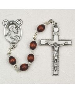 Men's  BROWN WOOD ROSARY BEADS
