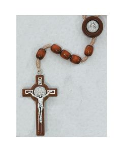 BROWN LG WOOD ST. BENEDICT ROSARY WITH PRAYER CARD