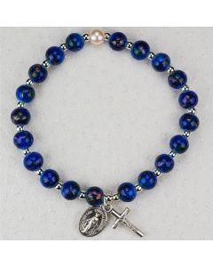 BLUE FAUX VENETIAN STRETCH ROSARY BRACELET